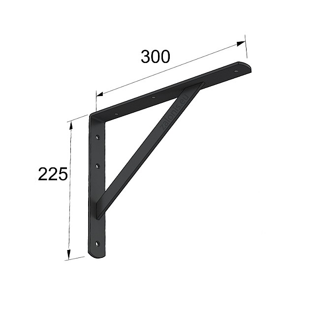HEAVY DUTY SHELF BRACKET 300x225mm/260kg BLACK